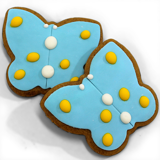Handmade Gingerbread Iced Biscuit - Blue Butterfly