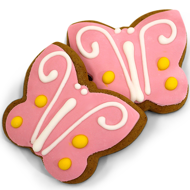 Handmade Gingerbread Iced Biscuit - Pink Butterfly