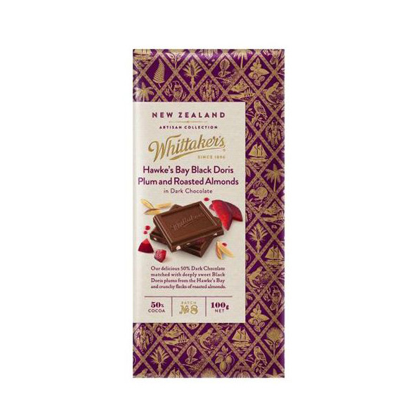Whittaker's Hawke's Bay Black Doris Plum and Roasted Almonds Dark Chocolate 100g