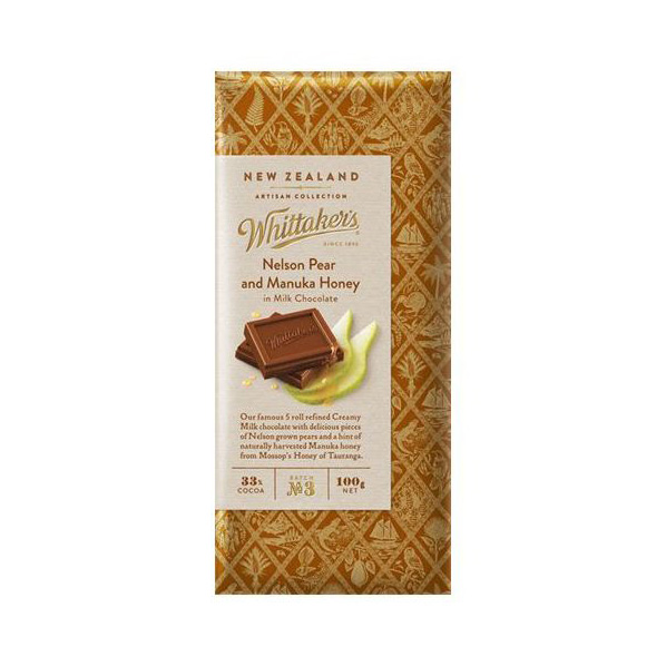 Whittaker's Nelson Pear & Manuka Honey Milk Chocolate 100g