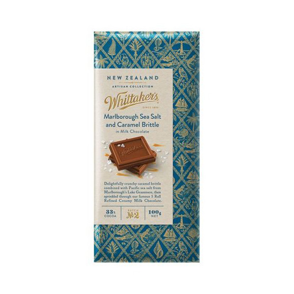 Whittaker's Marlborough Sea Salt & Caramel Brittle Milk Chocolate 100g
