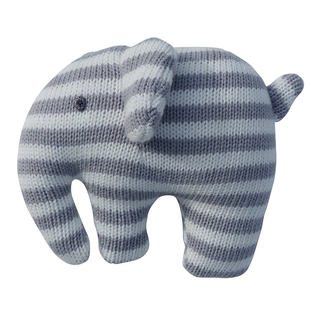 Crochet Elephant Squeaker - Grey