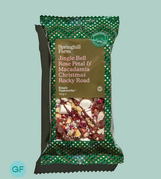 Springhill Farm Jingle Bell Rose Petal & Macadamia Rocky Road Slice 160g