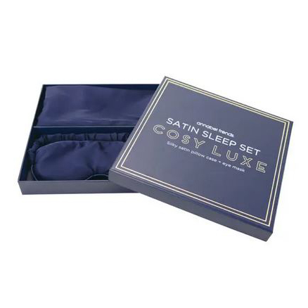 Cosy Luxe Satin Sleep Set Navy - Pillowcase & Eyemask