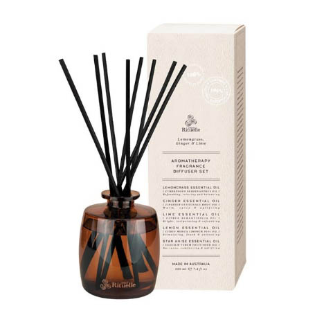 Aromatherapy Fragrance Diffuser Set - Lemongrass, Ginger & Lime 220ml