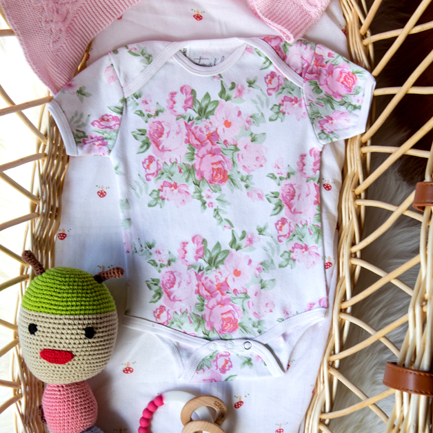 Emotion & Kids 100% Cotton Pink Peonies Bodysuit 0-3